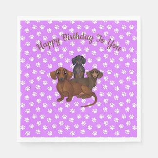 Purple Dachshund Paper Party Napkins