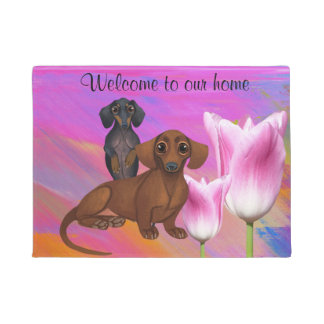 Purple Dachshund Springtime Door Mat
