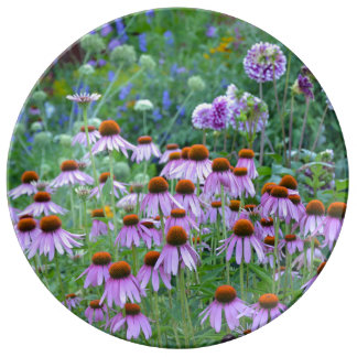 Purple dahlia and echinacea print porcelain plate