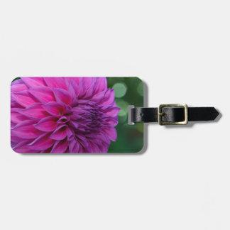 Purple dahlia flower bag tag