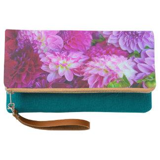 Purple dahlia flowers clutch
