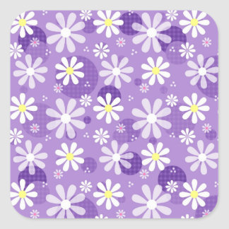 Purple Daisies and Gingham Polka Dots Square Sticker