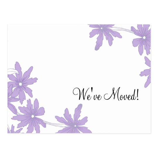 Purple Daisies Change of Address Announcement Postcard