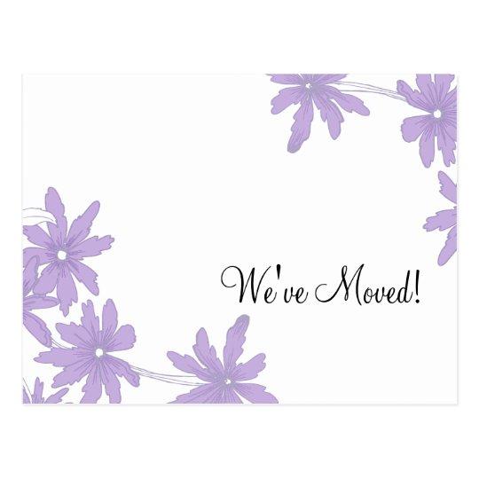 Purple Daisies Change of Address Postcard