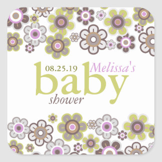 Purple Daisies Flowers Blooms Baby Shower Gift Tag