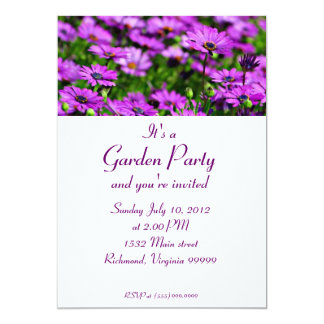 Purple Daisies Garden Party Custom Invitation