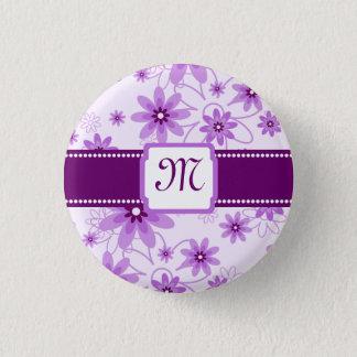 Purple Daisies Monogram 1 Inch Round Button
