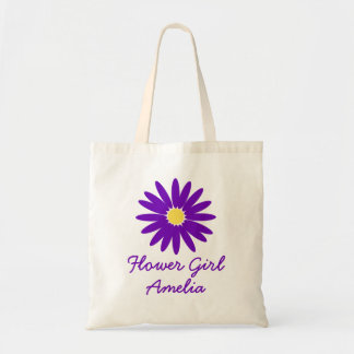 Purple Daisy Flower Girl Budget Tote Bag