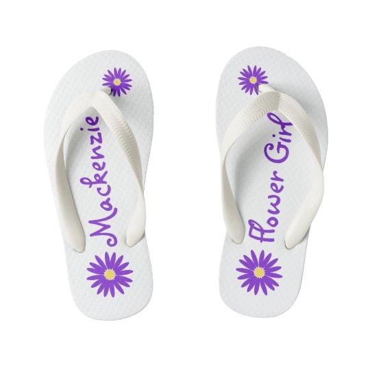 Purple Daisy Flower Girl Kid's Flip Flops