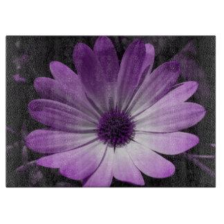 Purple Daisy Flower Glass Cutting Board