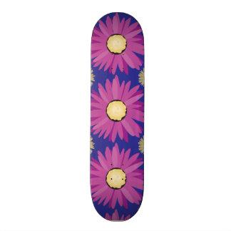 Purple Daisy Flower on Blue Floral Pattern Skate Board Decks