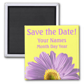 Purple Daisy Flower Save The Date Custom Magnet