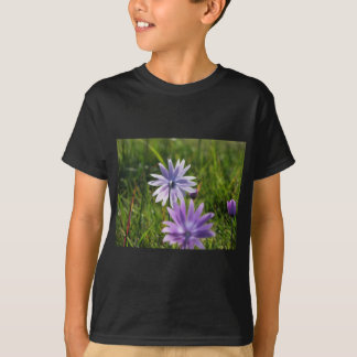 Purple daisy flowers on green background T-Shirt