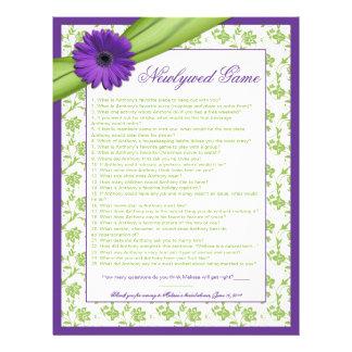 Purple Daisy Green Bridal Shower Newlywed Game Letterhead Design