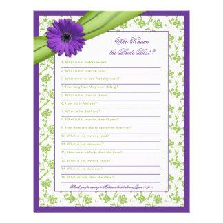 Purple Daisy Green Floral Bridal Shower Game Letterhead