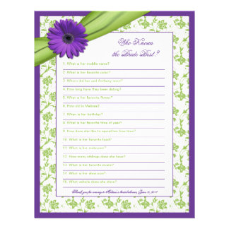 Purple Daisy Green Floral Bridal Shower Game Personalized Letterhead