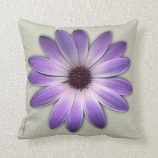 Purple Daisy on Stone Leather Texture Pillow