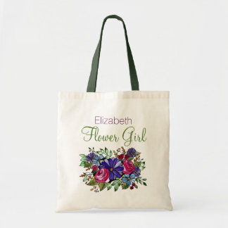 Purple Daisy Pink Rose Flower Name Flower Girl Tote Bag