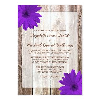 Purple Daisy Rustic Barn Wood Wedding Card
