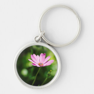 Purple Daisy Silver-Colored Round Keychain