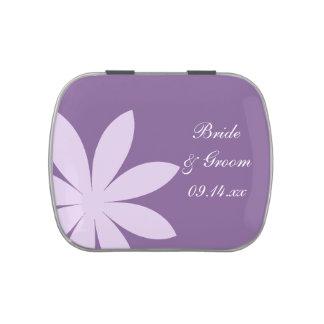 Purple Daisy Wedding Favor Candy Tin
