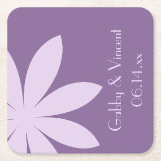 Purple Daisy Wedding Square Paper Coaster