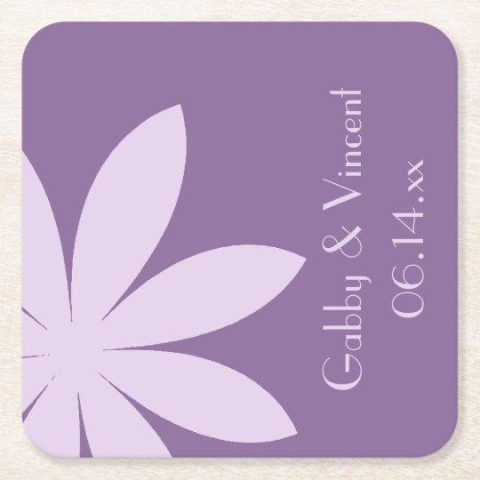 Purple Daisy Wedding Square Paper Coaster