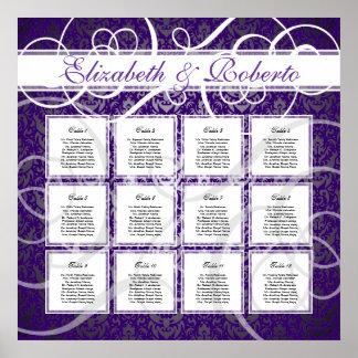 Purple Damask 12 Table Wedding Seating Plan Chart Poster