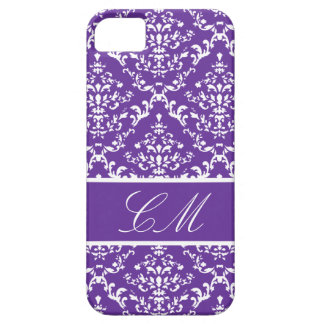 Purple Damask #1 @ Vintage Marie with Monogram iPhone 5 Cover