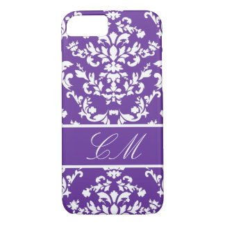 Purple Damask #3 @ Vintage Marie with Monogram iPhone 7 Case