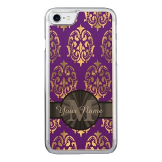 Purple damask and gold monogram carved iPhone 7 case