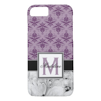 Purple Damask and Marble Monongram iPhone 8/7 Case