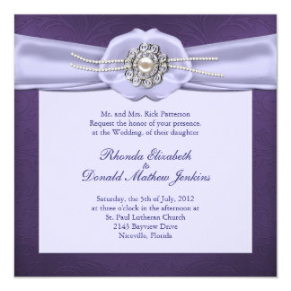 Purple Damask and Pearls Wedding Invitation