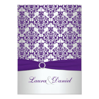 Purple Damask and Silver Wedding Invitation