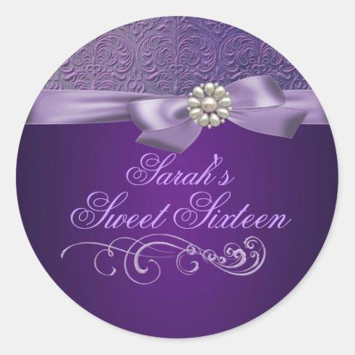 Purple Damask & Bow Sweet 16 Envelope Sticker