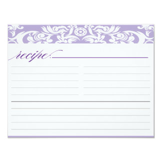 Purple Damask Bridal Shower Recipe Card
