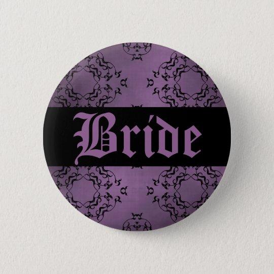 Purple damask bride 2 inch round button