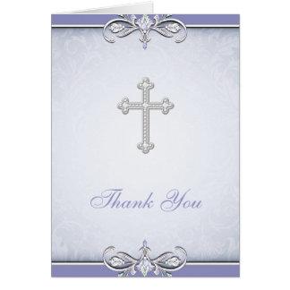 Purple Damask Cross Christian Thank You Card