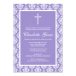"Purple Damask Cross Girl Baptism Christening 5"" X 7"" Invitation Card"