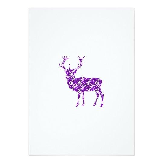 Purple Damask Deer Stag Card