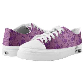 Purple Damask Design Low-Top Sneakers