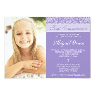 "Purple Damask Girl Photo First Communion 5"" X 7"" Invitation Card"