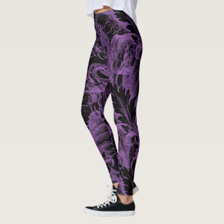 Purple Damask Goth Leggings