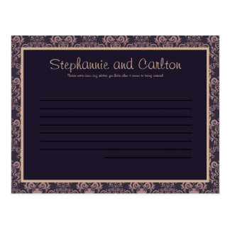 Purple Damask Lace Wedding Advice Card Postcard