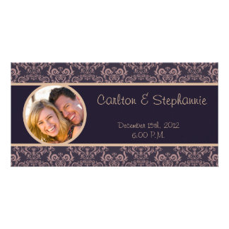 Purple Damask Lace Wedding Photo Announcement Personalized Photo Card