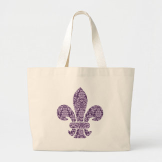 Purple Damask Large Tote Bag