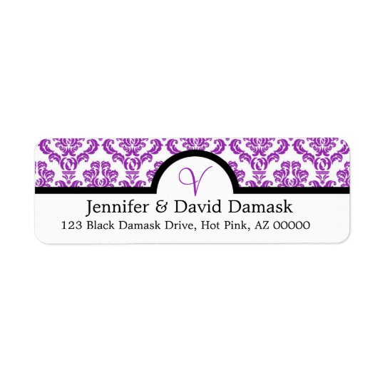 Purple Damask Monogram V Wedding Mailing Labels