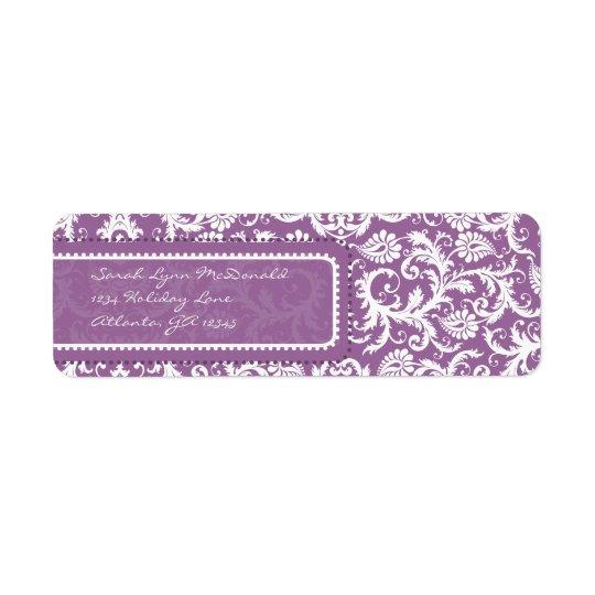 Purple Damask on Plum Return Address