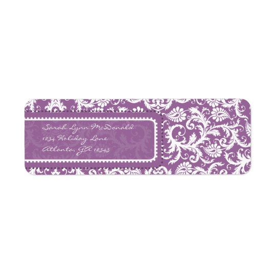 Purple Damask on Plum Return Address Return Address Label
