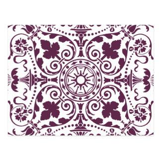 purple damask ornamental design postcard